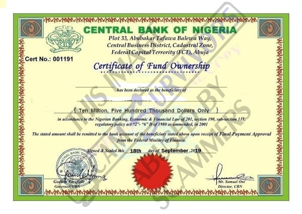 Fake Certificate of Fund Ownership.JPG